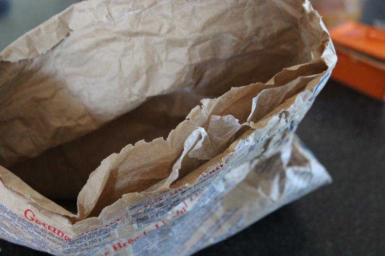 This bag of bread mix from the supermarket looks plastic free but hidden between the layers of paper is a plastic inner lining.