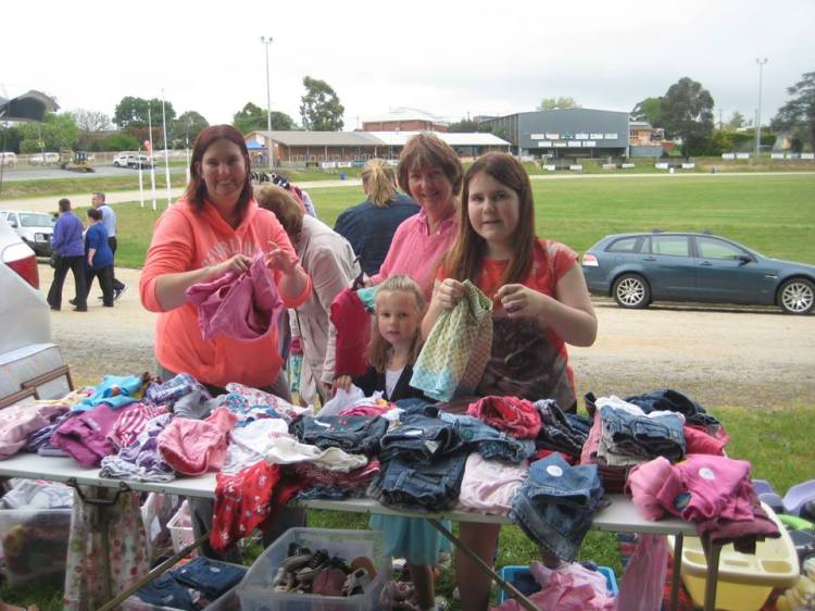 Secondhand clothing sale at the Poowong Pickers Festival 2014.