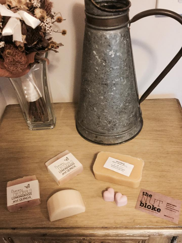 Beeswax, soaps, a shampoo bar, and soy scents purchased from the Yarragon Craft and Produce Market.
