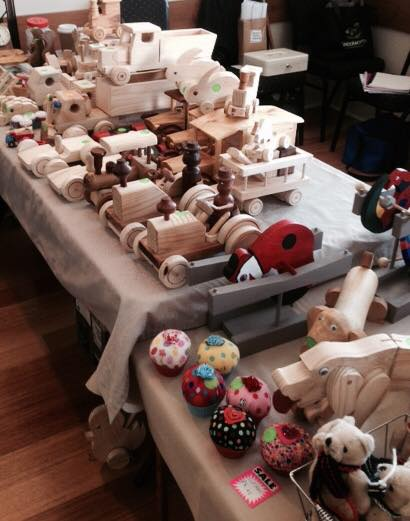 Waste free wooden toys for sale at the Yarragon Craft and Produce Market.