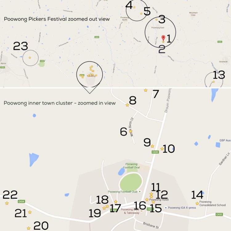 The 2015 Poowong Pickers Festival Garage Sale Trail Map.