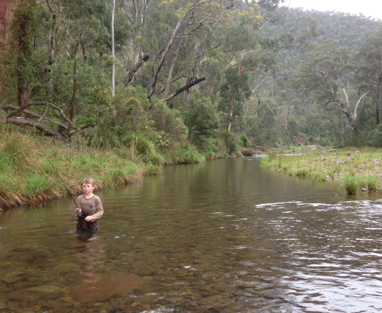 Alby fishing mid-stream