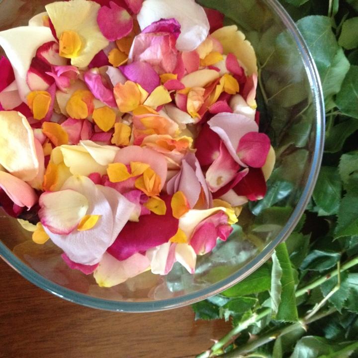 Bowl of rose petals