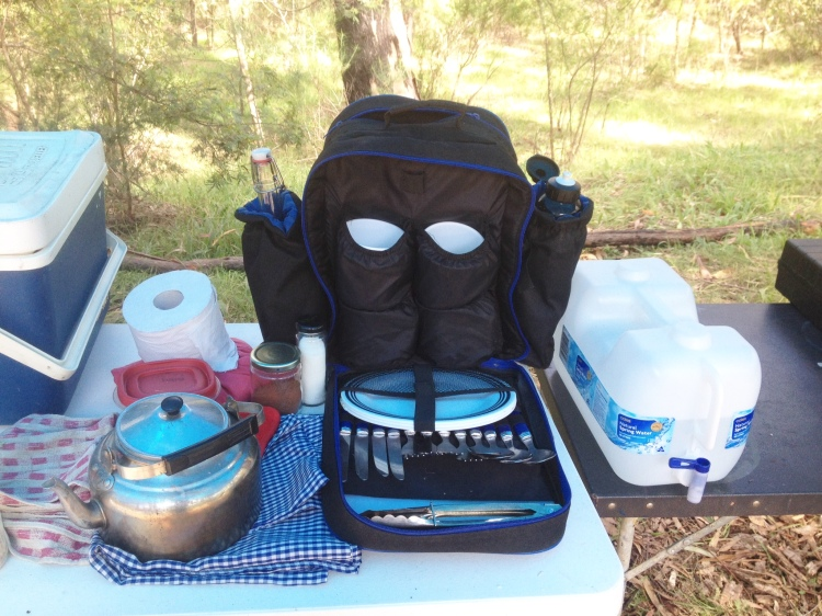 My camping backpack of reusable kitchenware.