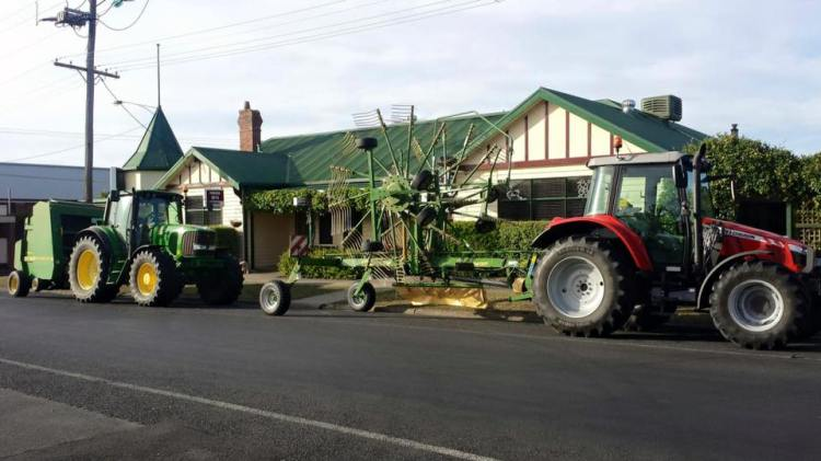 My town: tractors outside the pub.