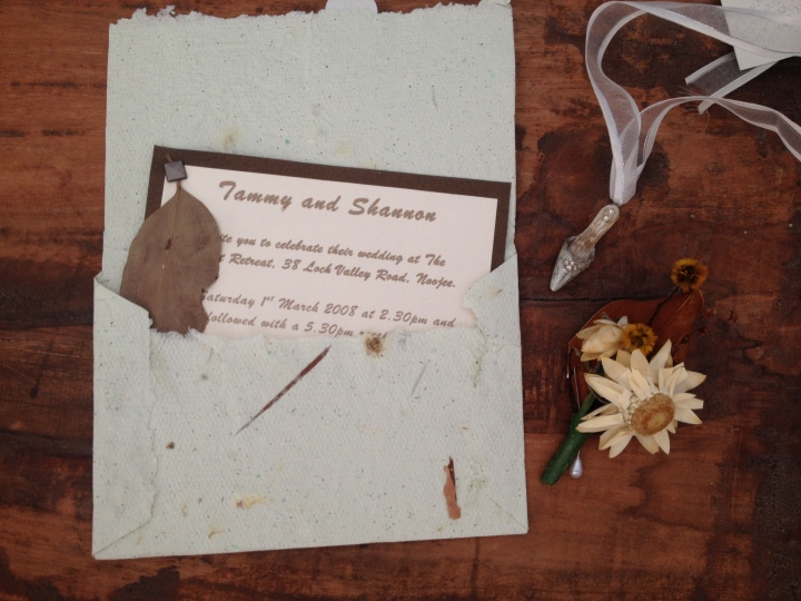 Our handmade wedding invitations. I made the paper for all the envelops.