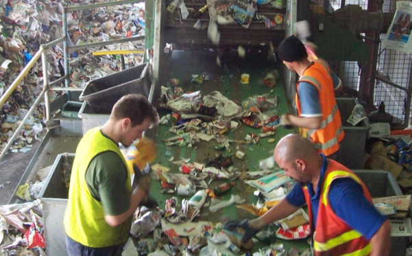 Most of the materials at the DASMA Materials Recovery Facility are sorted by hand.