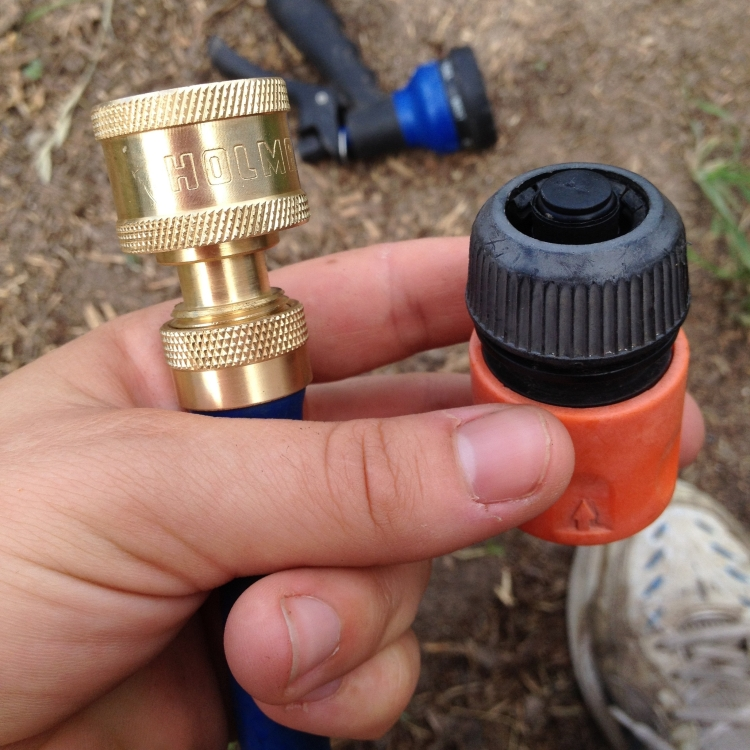 Replacing broken plastic hose fittings with bass fittings.