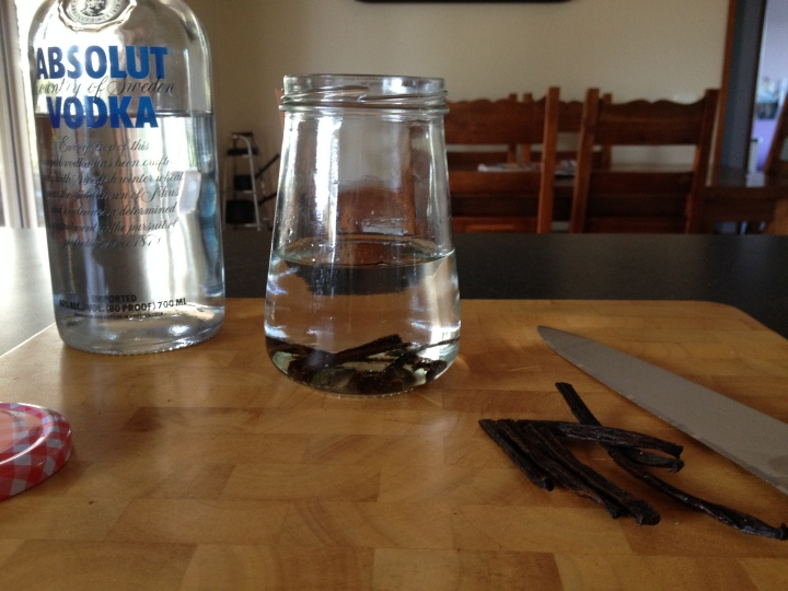 Homemade vanilla extract using vodka and vanilla beans.