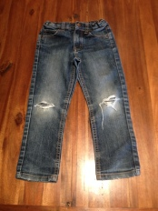 I used worn-out kids jeans.