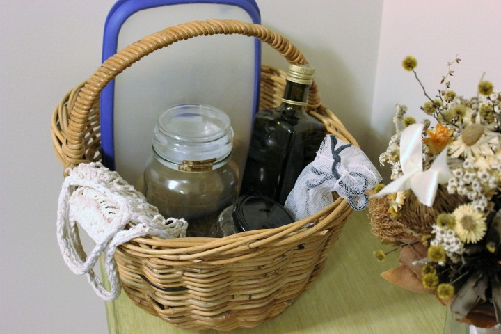 Basket of reusable containers and bags for plastic free living.