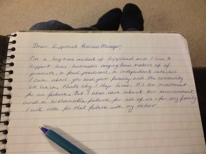 Handwritten Letter to Gippsland Business Managers