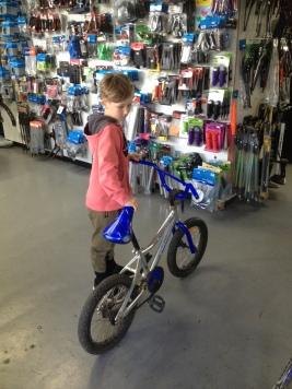 Alby leaving his bike at Re:cycle, Leongatha.