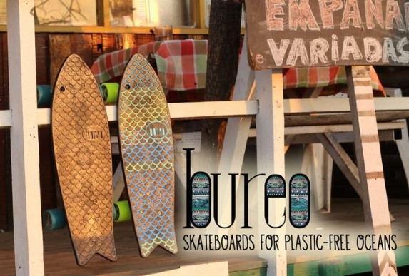 Bureo skateboards made from plastic fishing nets.