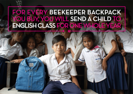 BeeKeeper Backpacks help send a child to English class in Cambodia for one whole year.