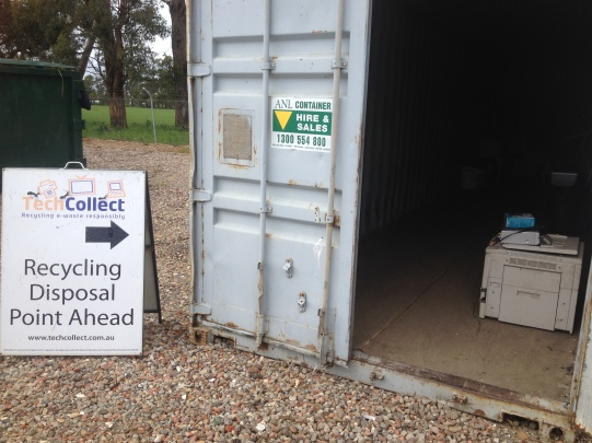 TechCollect e-waste recycling drop off point at Lardner Transfer Station. We left our irreparable television here.