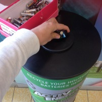 Dropping off our old single-use household batteries at Aldi for recycling.