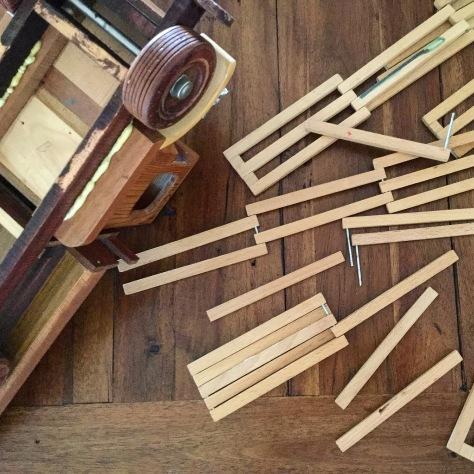Repairing wooden toys.