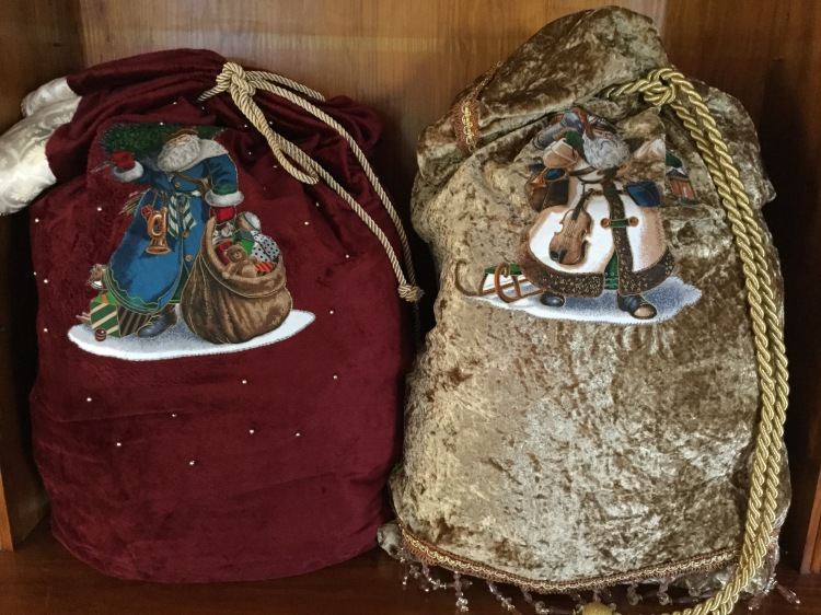Two Santa sacks for the children handmade from upcycled materials.