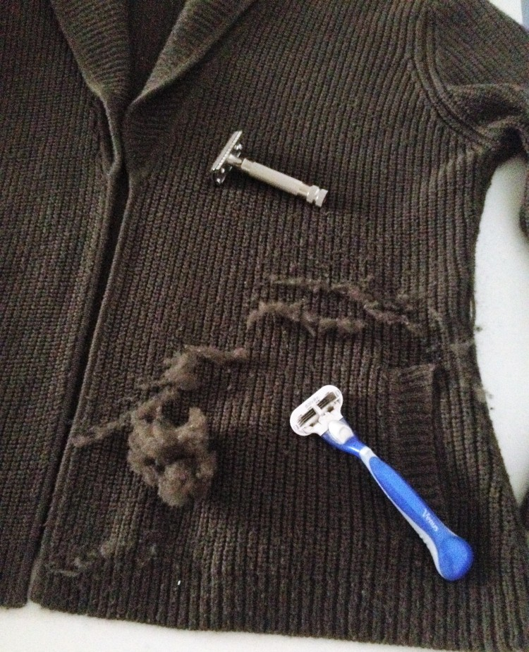Using a razor to de-pilling clothing.