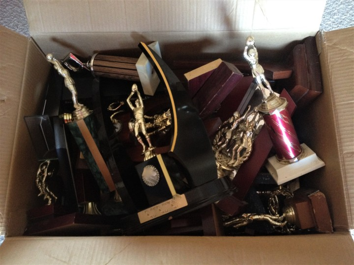 A box of old trophies.